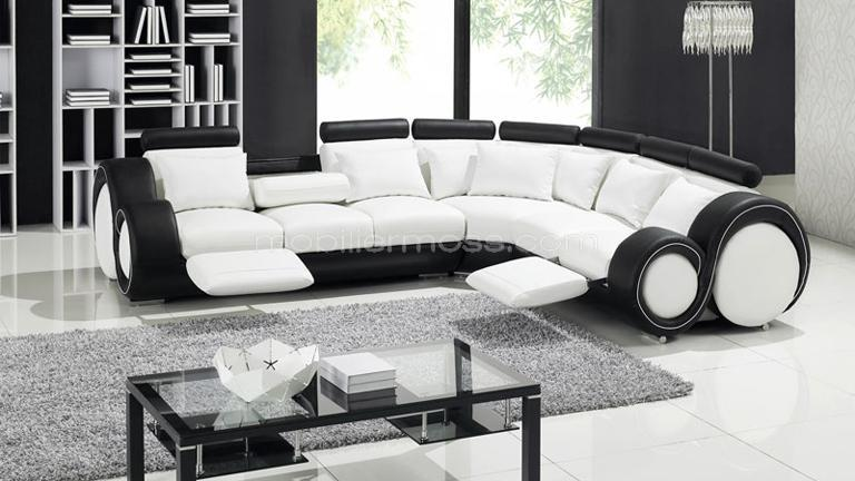 canape noir et meuble blanc. Black Bedroom Furniture Sets. Home Design Ideas