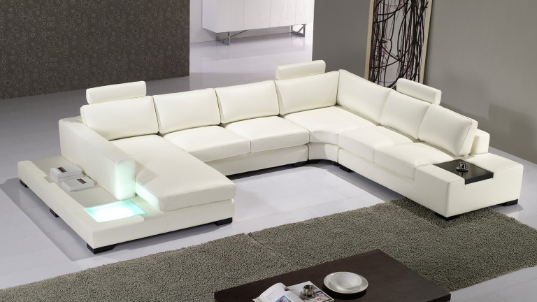 canape angle droit cuir design lumiere fritsch blanc