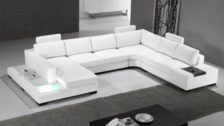canape angle droit cuir design lumiere fritsch blancW