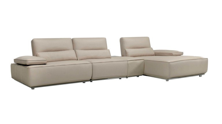 canape angle droit taupe cuir mobiliermoss houston