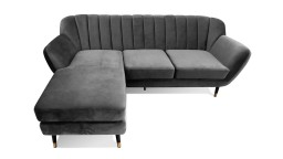 Canape angle velours gris style retro scandinave novy mobiliermoss