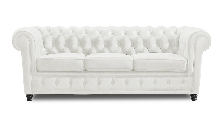 canape cuir 3places club chesterfield blanc W008 liverpool mobiliermoss