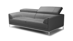 canape cuir 3places dossier relevable gris9019 oppland mobiliermoss