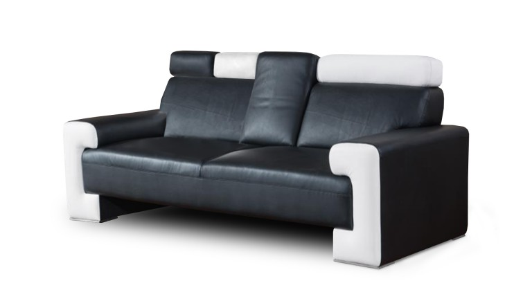 canape cuir 3places noir blanc accoudoir tablette yoocub 3 mobiliermoss