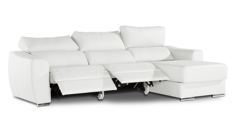 canape cuir angle droit relax blanc polar agueda mobiliermoss - Canape Electrique