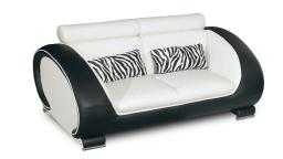 canape cuir design 2 places blanc noir okyo mobiliermoss