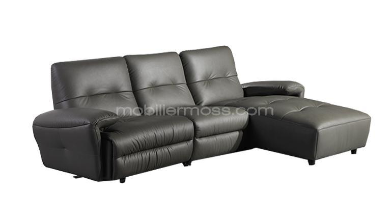 Canape cuir design sofa cuir gris 3places mobiliermoss yeary for Canape qui s allonge