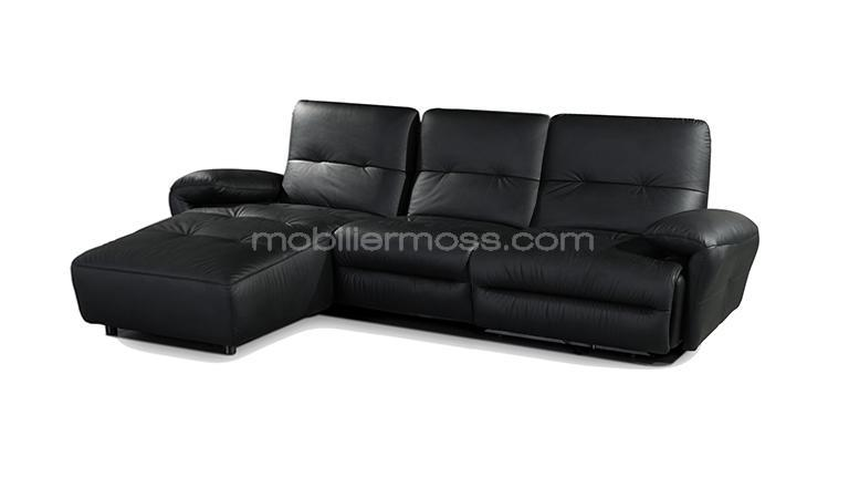canape cuir design sofa cuir noir 3places mobiliermoss yeary