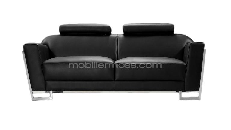 Canap contemporain 2 places en cuir rivera mobilier moss for Canape 2 places noir
