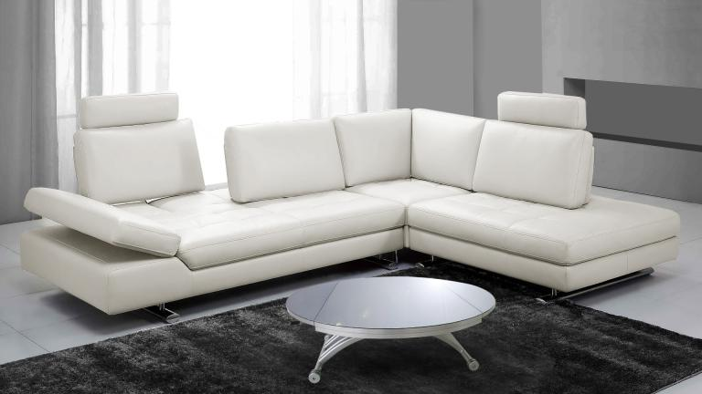 Canape d 39 angle en cuir contemporain minho mobilier moss for Sofa contemporain design