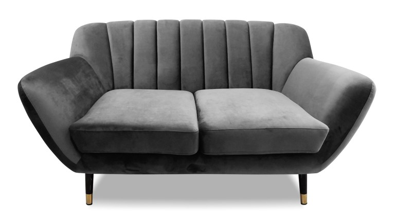Canape deux places velours gris style retro novy mobiliermoss