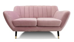 Canape deux places velours rose style retro novy mobiliermoss
