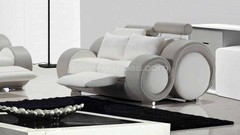 Canap 2 places relax design pierce mobilier moss for Canape cuir blanc design