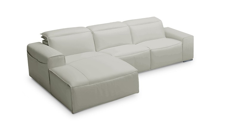 Canape relax  meridienne cuir gris perle ameland mobiliermoss