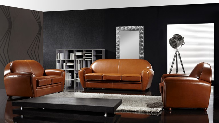 salon cuir jazzy canap s 3 2 places fauteuil mobilier. Black Bedroom Furniture Sets. Home Design Ideas