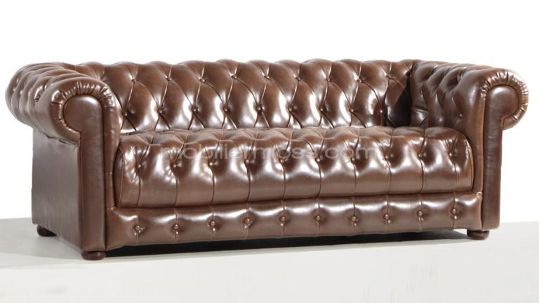 Canap chesterfield design 3 places vivaldi mobilier moss for Canape style industriel