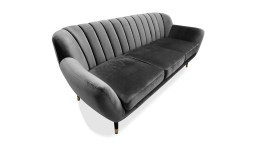 Canape trois places velours gris style retro novy mobiliermoss