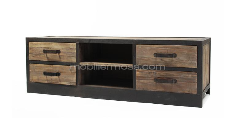Mueble de tv caruso 4 cajones estilo industrial madera y for Meuble acier fly