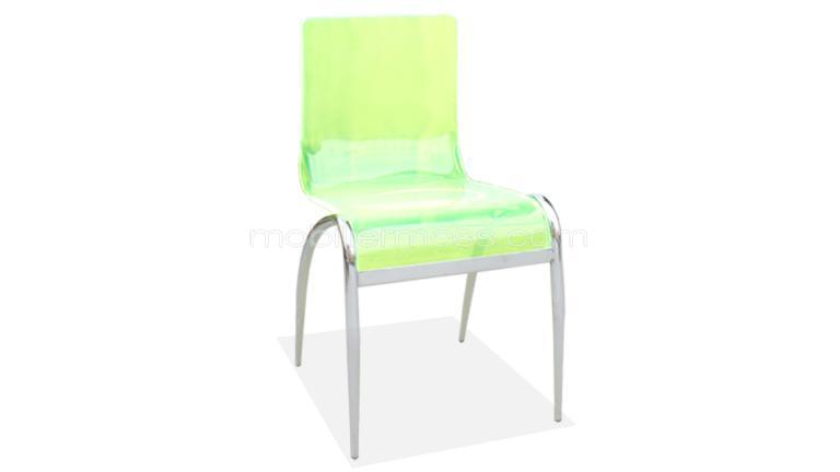 chaise design cilia klar acrylic vert metal chrome ensemble mobilier moss