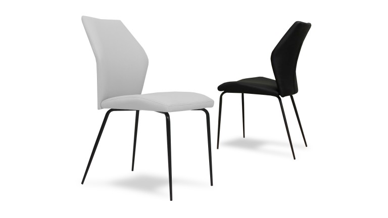 chaise design pied noir assise simili nasten mobiliermoss - Chaise Contemporaine Design