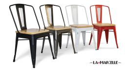 Lot de 4 chaises tôle design industriel assise bois - La Marcelle -