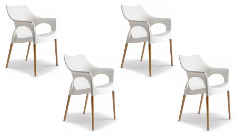 Chaises en plexi blanc design natural lao mobilier moss for Chaise blanche et bois design