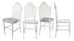 Lot de 4 chaises design en plexi transparent - Segovi