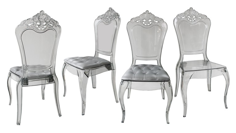 Lot de 4 chaises astorga design en plexi transparent - Chaise de bureau baroque ...