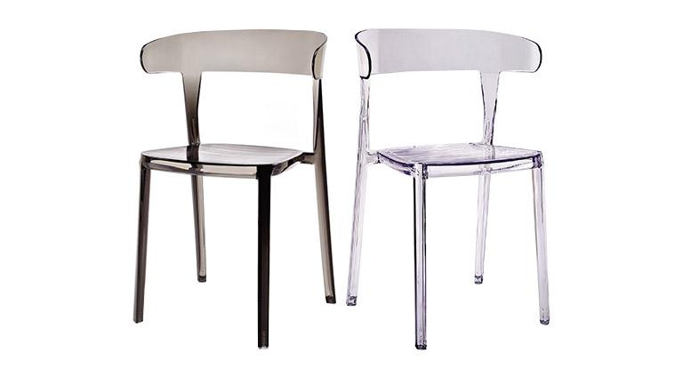 chaises polycarbonate design transparent gris fume mobiliermoss