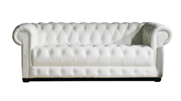 chesterfield blanc trois places