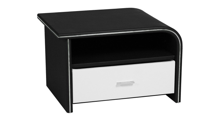 Chevet design store une commode ou chevet aspect cuir au design contemporai - Table de chevet design laque blanc ...