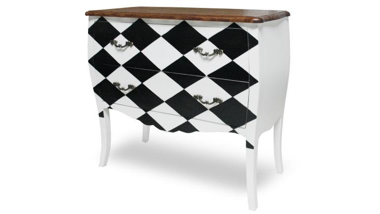 commode de style damier noir et blanc damian mobilier moss. Black Bedroom Furniture Sets. Home Design Ideas
