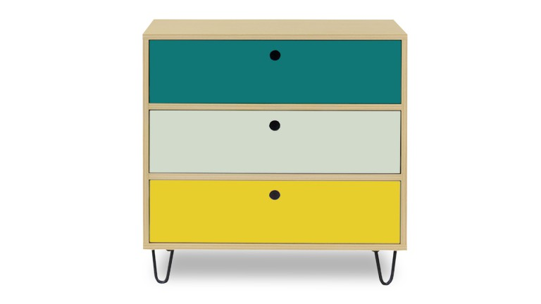 Commode Multicolore 3 Tiroirs Jalapa Mobilier Moss