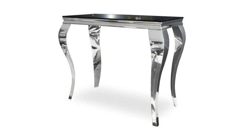 console baroque verre noir pied inox chrome betty 10 mobiliermoss