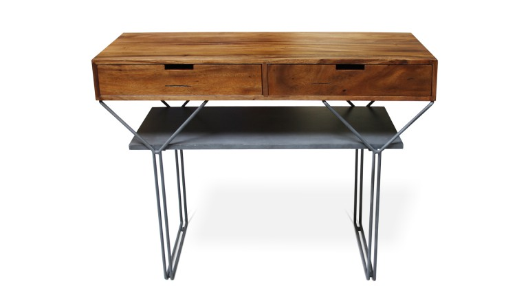 Console en bois massif pietement metallique style industriel elise mobiliermoss