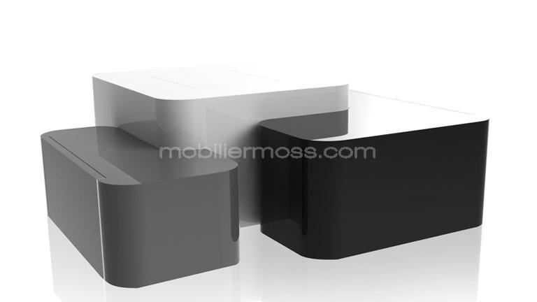 cubik table basse design laque blanc noir gris