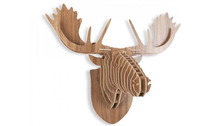 decoration bois noyer 2 trophee elan moose mobiliermoss