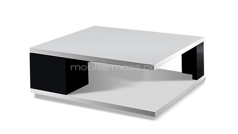 Table basse de salon moderne et laqu e diva mobilier moss - Table basse noir et blanc laque ...