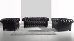 Salon Chesterfield cuir - Vivaldi - canap� 3 pl. + 2 places + fauteuil