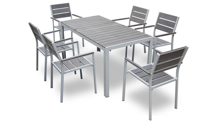 table et 6 chaises giany en aluminium pour jardin mobilier moss. Black Bedroom Furniture Sets. Home Design Ideas