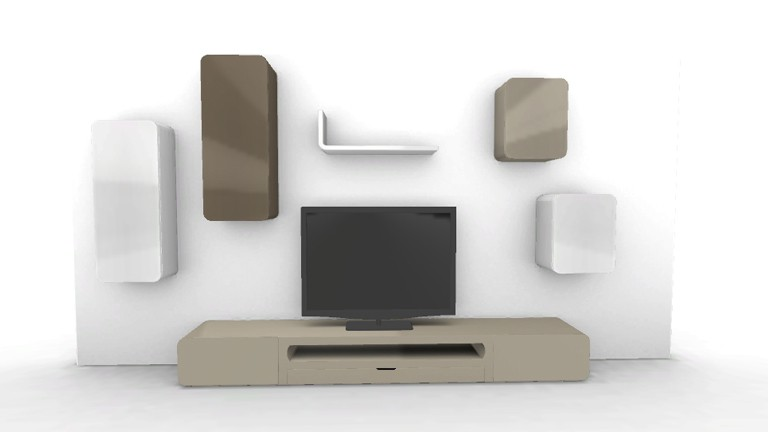 ensemble living cubik design laque Taupe1