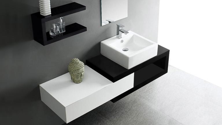 meuble de salle de bain simple vasque bicolore carmen. Black Bedroom Furniture Sets. Home Design Ideas
