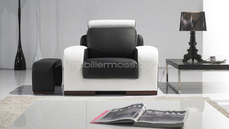 Fauteuil pour salon contemporain zola mobilier moss for Salon cuir moderne design