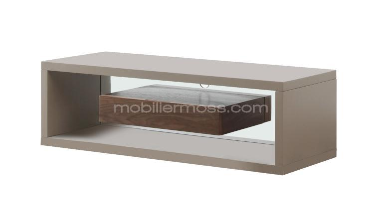 Meuble tv taupe et bois friendly mobilier moss for Mobilier bois