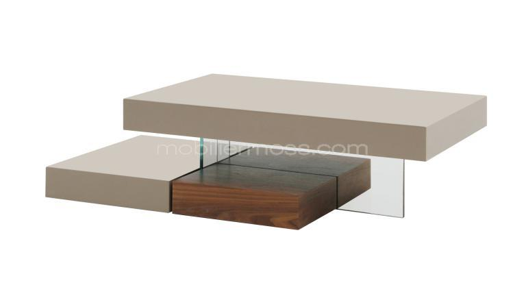Table basse design taupe mat friendly mobilier moss - Table de salon bois et verre ...