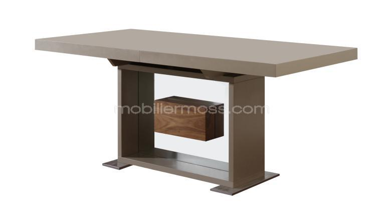 table moderne avec rallonges friendly taupe mat mobilier moss. Black Bedroom Furniture Sets. Home Design Ideas