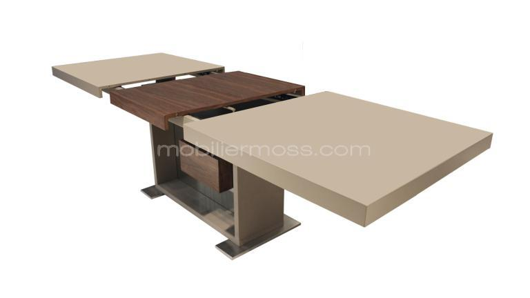 Table moderne avec rallonges friendly taupe mat mobilier for Salle a manger avec table extensible