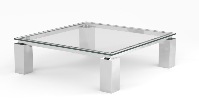 Table basse de salon en verre transparent arklow for Table de salon transparente