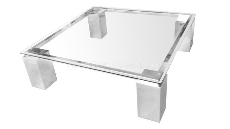 Table basse de salon en verre transparent glassy mobilier moss for Grande table de salon en verre