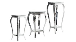 gueridon baroque pied inox chrome verre blanc betty mobiliermoss